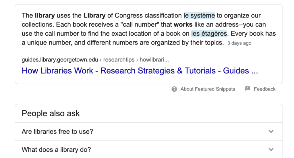 Screenshot of Google Search Snippets and Related Questions